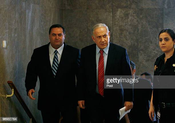 Israel's Prime Minister Benjamin Netanyahu and Transport Minister Yisrael Katz attend the weekly cabinet meeting in his office on May 9 2010 in...