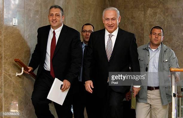 Israel's Prime Minister Benjamin Netanyahu arrives for a cabinet meeting on June 14, 2010 in Jerusalem, Israel. Prime Minister Benjamin Netanyahu...