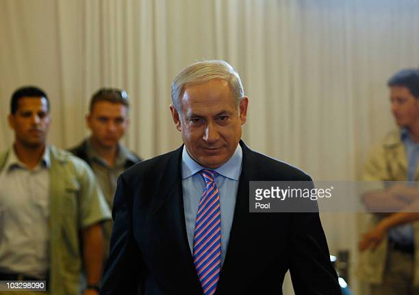 Israel's Prime Minister Benjamin Netanyahu arrives to testify at a state-appointed inquiry into the Israeli Naval raid on a Gaza aid flotilla, on...
