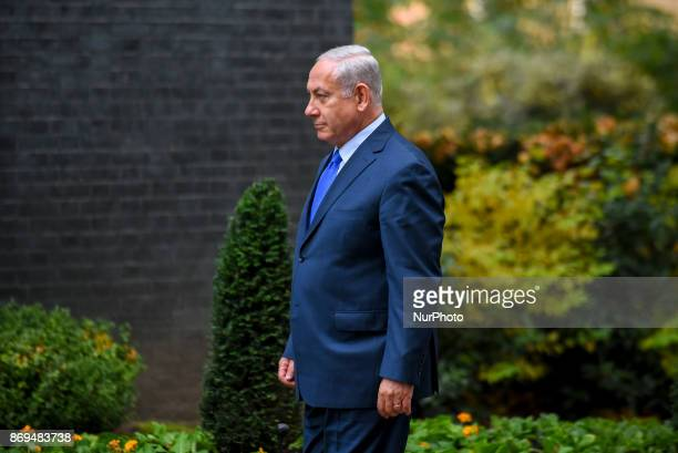 Israel's Prime Minister Benjamin Netanyahu at Downing Street London on November 2 2017 The prime minister of Israel arrived in London to commemorate...