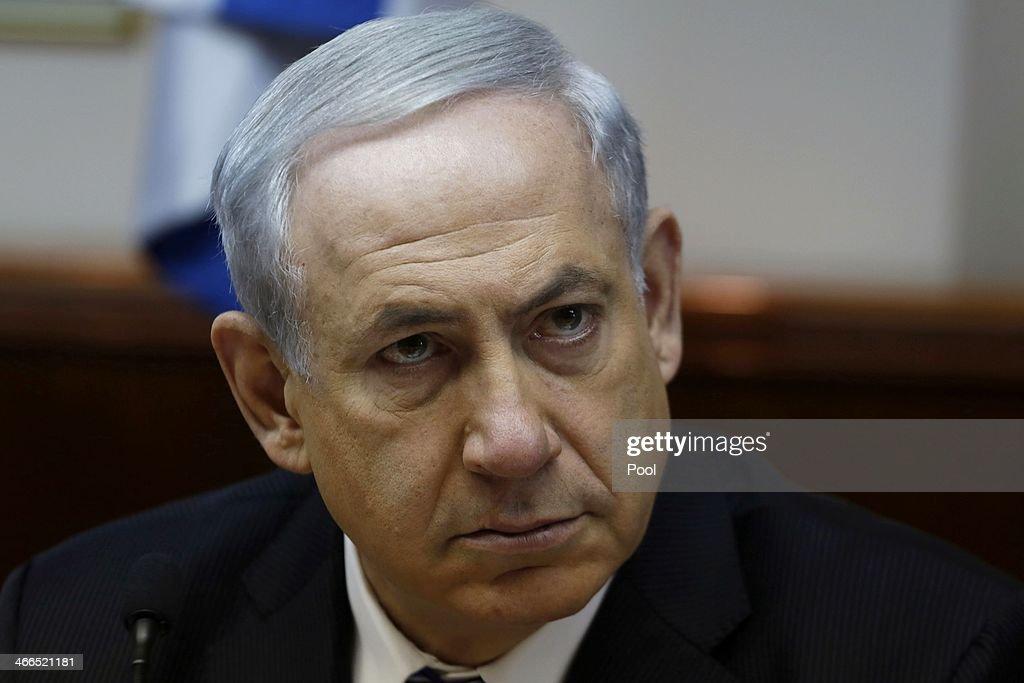 Israel's Prime Minister Benjamin Netanyahu chairs the weekly cabinet meeting on February 2, 2014 in Jerusalem, Israel. Netanyahu discussed issues surrounding talks of boycotting Israel.