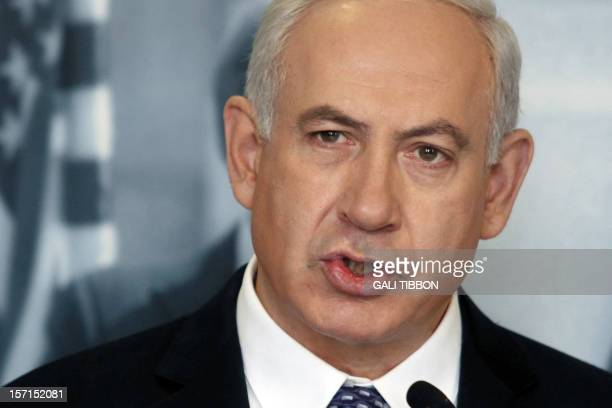 Israel's Prime Minister Benjamin Netanyahu delivers a statement to the press about the Palestinian bid to the UN on November 29 2012 during his visit...