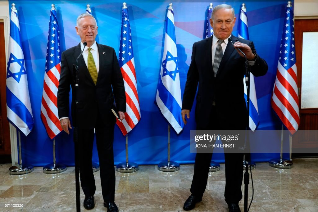 Israel's Prime Minister Benjamin Netanyahu delivers brief remarks as he welcomes US Defence Secretary James Mattis in his offices in Jerusalem on April 21, 2017. /