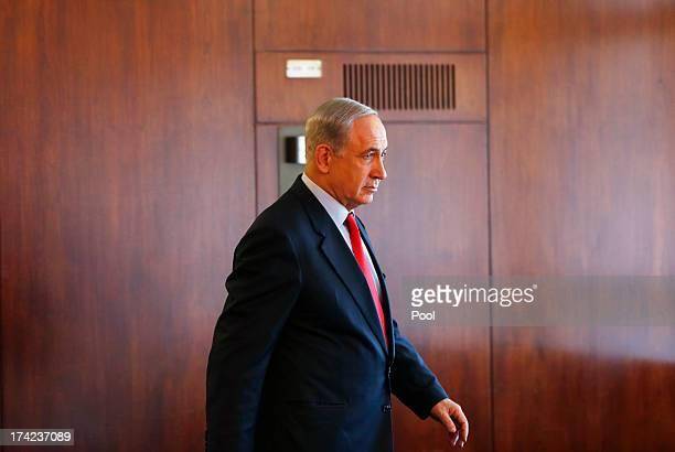 Israel's Prime Minister Benjamin Netanyahu leaves after delivering a statement to the media at the Knesset, on July 22, 2013 in Jerusalem, Israel....
