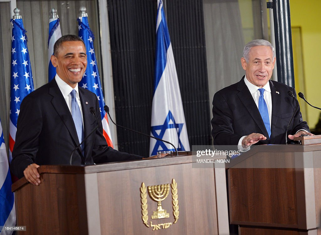 Israel's Prime Minister Benjamin Netanyahu (R) speaks during a joint press conference with US President Barack Obama following a bilateral meeting at the Prime Minister's residence in Jerusalem on March 20, 2013. Obama landed in Israel for the first time as US president, on a mission to ease past tensions with his hosts and hoping to paper over differences on handling Iran's nuclear threat.