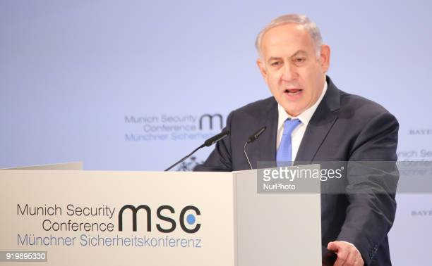Israel's Prime Minister Benjamin Netanyahu spoke at the Munich Security Conference in Munich Germany on 18 February 2018 The MSC takes place from...