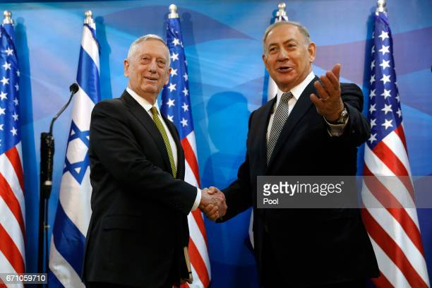 Israel's Prime Minister Benjamin Netanyahu welcomes US Defense Secretary James Mattis in his offices on April 21 2017 in Jerusalem Israel