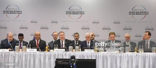 Israel's Prime Minister Benjamin Netanyahu Yemen's Foreign Minister Khalid alYamani US Secretary of State Mike Pompeo Polish Foreign Minister Jacek...