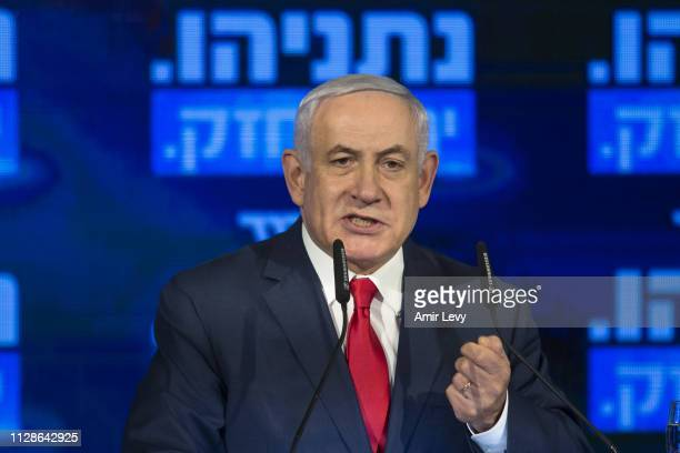 Israel's Prime Minster Benjamin Netanyahu delivers a speech during the launch of the Likud party election campaign on March 4 2019 in Ramat Gan Israel