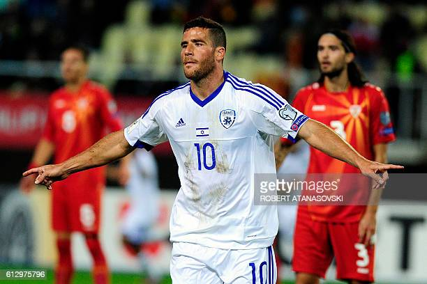 Israel's Tomer Hemed celebrates after scoring a goal during the WC 2018 football qualification match between Macedonia and Israel in Skopje on...