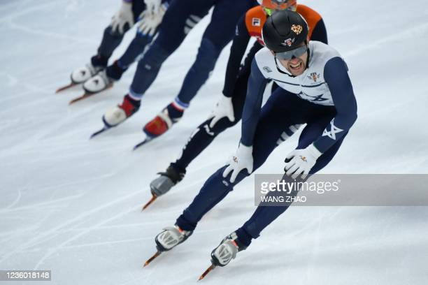 Israel's Vladislav Bykanov competes in the men's 1500m quarter finals during the 2021/2022 ISU World Cup short track speed skating, part of a 2022...
