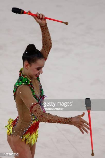 Israilan individual Adi Asya Katz rhythmic gymnast performs final during the 1st FIG Rhythmic Gymnastics Junior World Championships at Rhythmic...