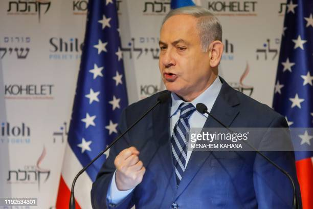 TOPSHOT Isreali Prime Minister Benjamin Netanyahu speaks at the Kohelet Policy Forum conference in Jerusalem on January 8 2020 Netanyahu today warned...