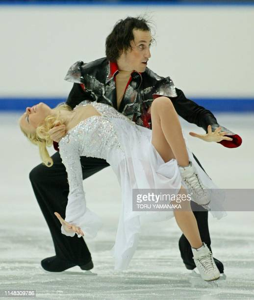 Isreali skater Galit Chait and her partner Sergei Sakhnovski perform during the free dance of ice dancing event in the NHK Trophy figure skating...