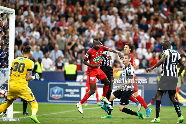 Issa Cissokho of Angers scores a goal against his side Blaise Matuidi of Paris Saint Germain during the National Cup Final match between Angers SCO...