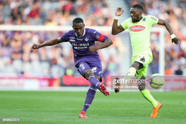 Issa Diop of Toulouse and Karl Toko Ekambi of Angers during the Ligue 1 match between Toulouse and Angers SCO at Stadium Municipal on April 21 2018...