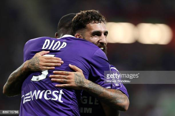Issa Diop of Toulouse celebrates with Jimmy Durmaz after scoring a goal during the Ligue 1 match between Toulouse and Stade Rennais at Stadium...