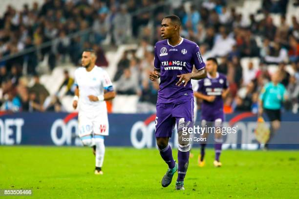 Issa Diop of Toulouse during the Ligue 1 match between Olympique Marseille and Toulouse at Stade Velodrome on September 24 2017 in Marseille France