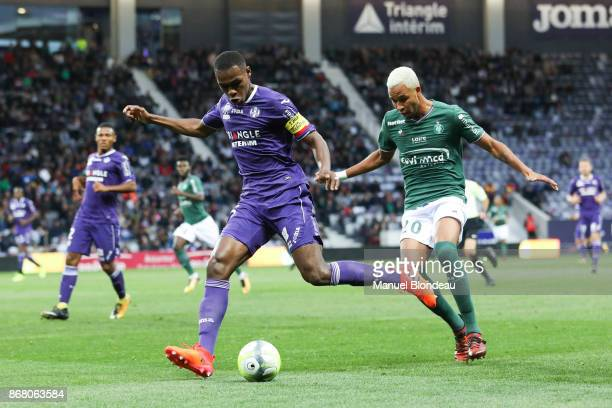 Issa Diop of Toulouse during the Ligue 1 match between Toulouse and AS SaintEtienne at Stadium Municipal on October 29 2017 in Toulouse