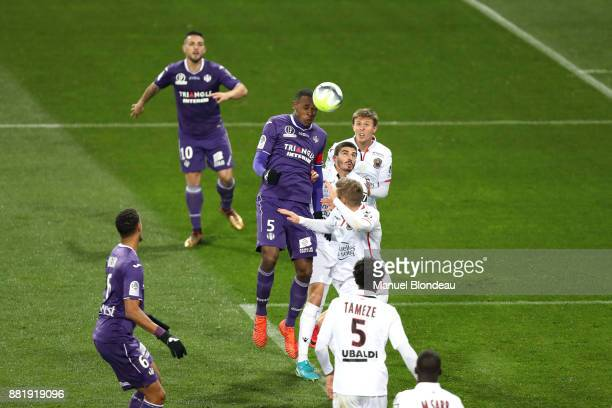 Issa Diop of Toulouse during the Ligue 1 match between Toulouse and OGC Nice at Stadium Municipal on November 29 2017 in Toulouse
