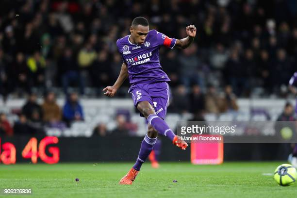 Issa Diop of Toulouse during the Ligue 1 match between Toulouse and Nantes at Stadium Municipal on January 17 2018 in Toulouse
