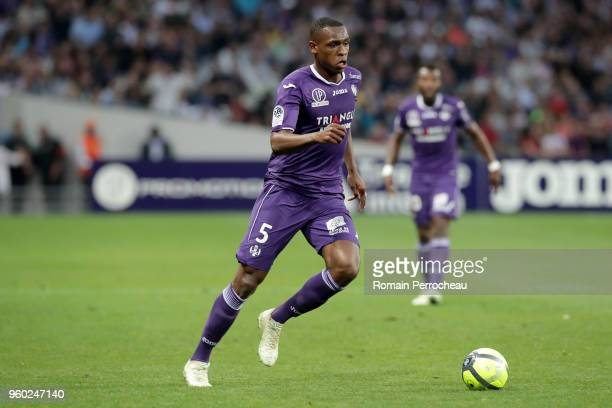 Issa Diop of Toulouse in action during the Ligue 1 match between Toulouse and EA Guingamp at Stadium Municipal on May 19 2018 in Toulouse