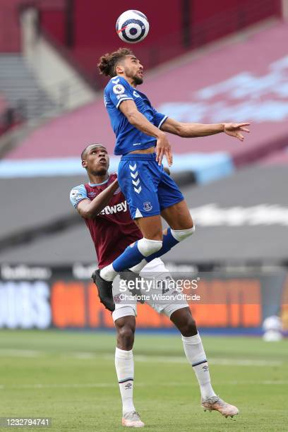 Issa Diop of West Ham United and Dominic Calvert-Lewin of Everton during the Premier League match between West Ham United and Everton at London...