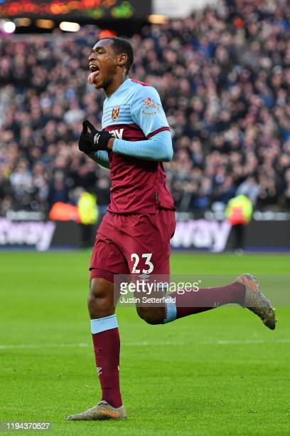 Issa Diop of West Ham United celebrates scoring a goal to make the score 1-0 during the Premier League match between West Ham United and Everton FC...