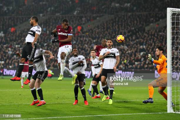 Issa Diop of West Ham United scores his side's second goal during the Premier League match between West Ham United and Fulham FC at the London...