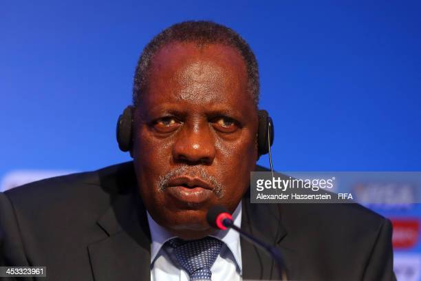 Issa Hayatou, Deputy Chairman of the Organizing Committee for the FIFA 2014 World Cup talks to the media during the FIFA World Cup 2014 Organizing...