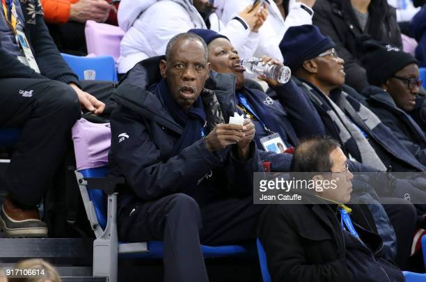 Issa Hayatou, honorary member of IOC attends the Figure Skating Team Event during the 2018 Winter Olympic Games at Gangneung Ice Arena on February...