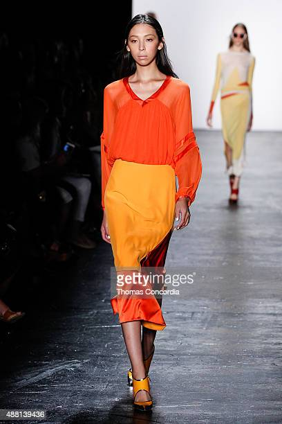 Issa Lish walks the runway wearing Prabal Gurung Spring 2016 during New York Fashion Week: The Shows at The Arc, Skylight at Moynihan Station on...