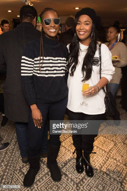 Issa Rae and Ava Coleman attend Twitter and ARRAYs #HereWeAre brunch at the #TwitterLodge during the 2018 Sundance Film Festival on January 19 2018...