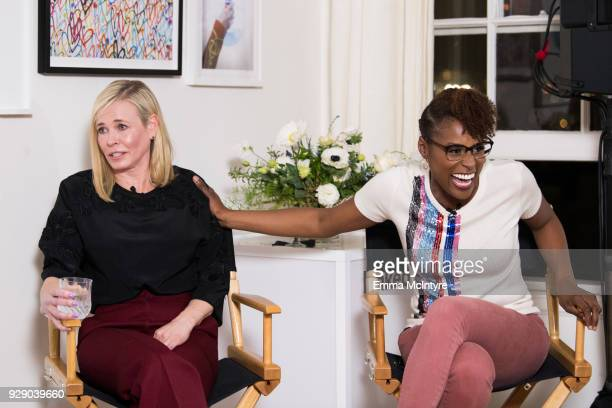 Issa Rae and Chelsea Handler attend 'LinkedIn Hosts a panel discussion with Issa Rae and Chelsea Handler' at The Art of Elysium Center on March 7...