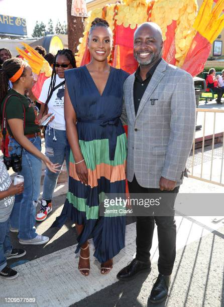 Issa Rae and Crenshaw Councilmember Marqueece HarrisDawson attend Destination Crenshaw Groundbreaking Event with over 2000 community residents...