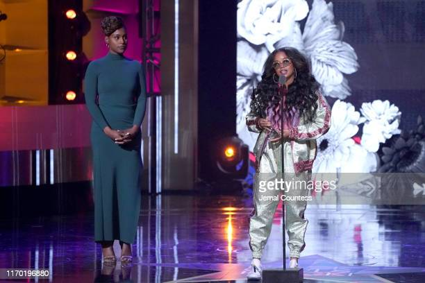 Issa Rae and H.E.R. Speak onstage at Black Girls Rock 2019 Hosted By Niecy Nash at NJPAC on August 25, 2019 in Newark, New Jersey.