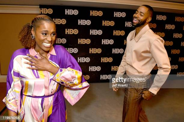 Issa Rae and Jay Ellis of 'Insecure' pose in the green room during the 2020 Winter Television Critics Association Press Tour at The Langham...