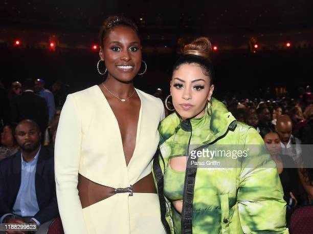 Issa Rae and Layton Greene attends the 2019 Soul Train Awards presented by BET at the Orleans Arena on November 17 2019 in Las Vegas Nevada