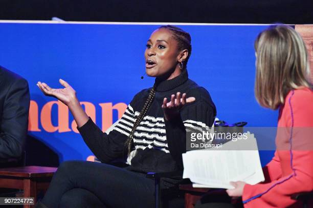 Issa Rae and Sarah Ellison speak onstage at the Panel Adaptation during the 2018 Sundance Film Festival at Filmmaker Lodge on January 19 2018 in Park...