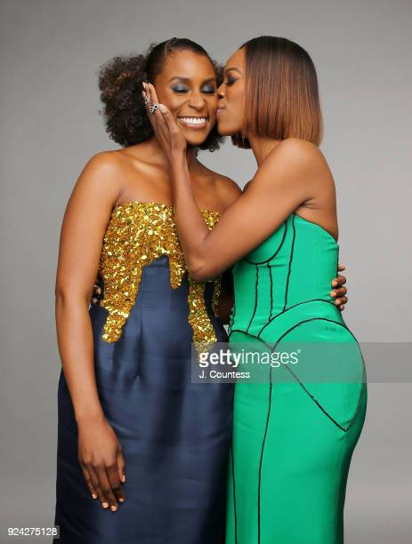 Issa Rae and Yvonne Orji pose for a portrait during the 2018 American Black Film Festival Honors Awards at The Beverly Hilton Hotel on February 25...