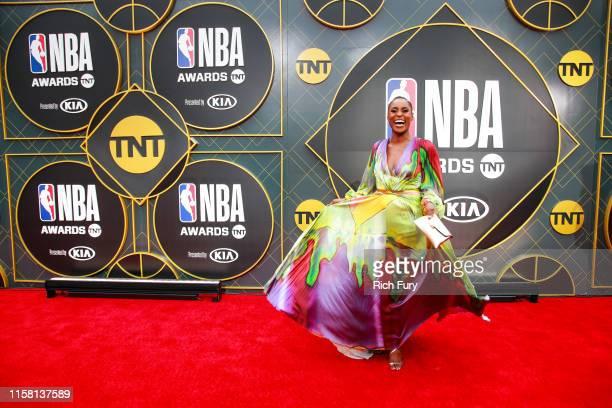 Issa Rae attends the 2019 NBA Awards at Barker Hangar on June 24 2019 in Santa Monica California