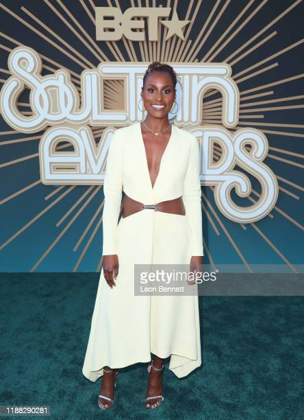 Issa Rae attends the 2019 Soul Train Awards presented by BET at the Orleans Arena on November 17 2019 in Las Vegas Nevada