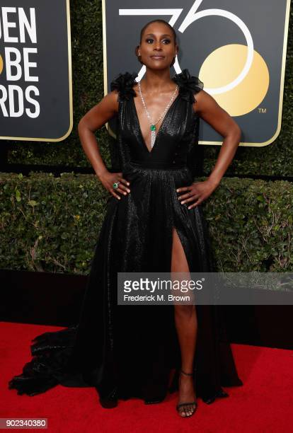 Issa Rae attends The 75th Annual Golden Globe Awards at The Beverly Hilton Hotel on January 7 2018 in Beverly Hills California