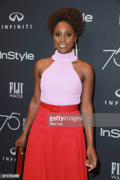 Issa Rae attends the Hollywood Foreign Press Association and InStyle celebrate the 75th Anniversary of The Golden Globe Awards at Catch LA on...