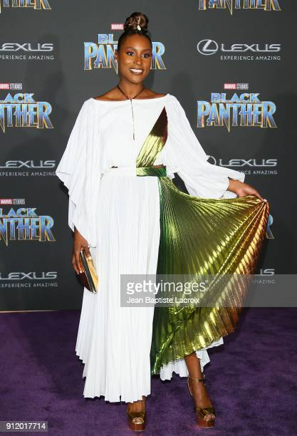 Issa Rae attends the premiere of Disney and Marvel's 'Black Panther' on January 28 2018 in Los Angeles California