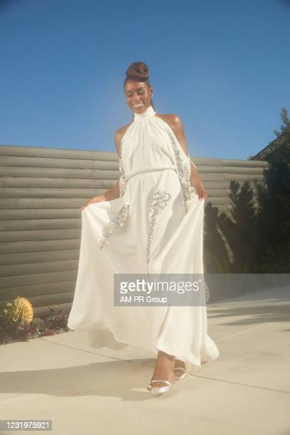 Issa Rae gets ready for the 52nd NAACP Image Awards on March 27, 2021 in Los Angeles, California.