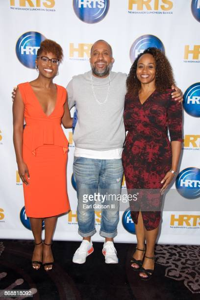 Issa Rae Kenya Barris and Pearlena Igbokwe attend HRTS Hosts Annual Hitmakers Luncheon at The Beverly Hilton Hotel on October 31 2017 in Beverly...