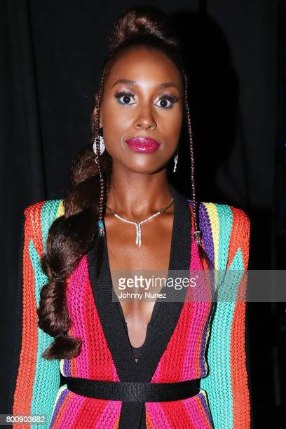 Issa Rae poses backstage at the 2017 BET Awards at Microsoft Theater on June 25 2017 in Los Angeles California