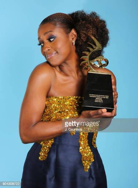Issa Rae poses backstage with her award during the 2018 American Black Film Festival Honors Awards at The Beverly Hilton Hotel on February 25 2018 in...
