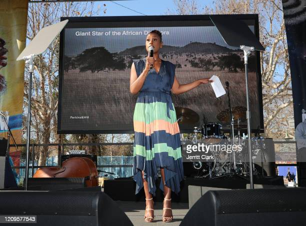 Issa Rae speaks at Destination Crenshaw Groundbreaking Event with over 2000 community residents including Emmy Nominated Actress and Writer Issa Rae...